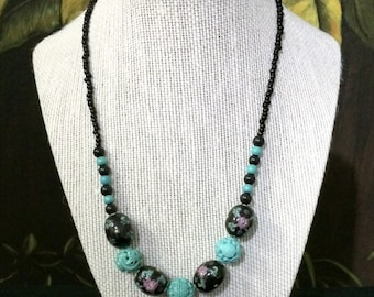 Oriental Carved Stone Necklace.