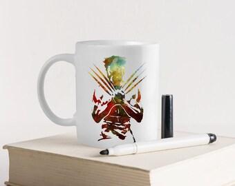 Unique Coffee Mug-Personalized mug-Coffee mug-Personalized gift-Marvel Mug-Wolverine mug-Watercolor Mug-Art Mug-Gift for kids-HuppyMugs