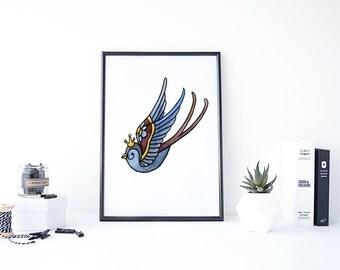 Ink Art, Ink Painting, Watercolor Bird Prints, Blue Bird Art, Ink Drawing, Hand Painting, Ink Prints, Water Color Bird, Watercolor Animal