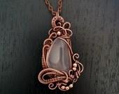 Rose Quartz pendant, wire wrapped pendant, wire wrapped copper necklace, jewelry wire wrap, oxidized copper pendant