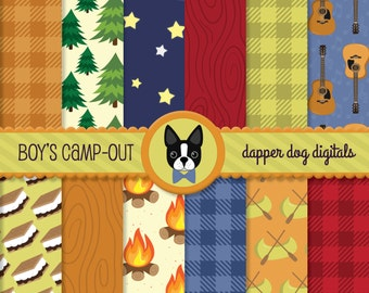 Boys Camping Digital Paper Pack - Commercial Use, Scrapbook papers