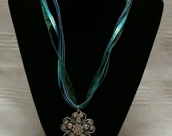 Teal Cord and Stainless Steel Necklace