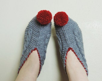 Womens Slippers, Gray Knitted Slippers with Red Pompoms, Cable Knit House Shoes, Slippers Socks