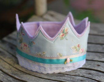 Felt and Fabric Crown; princess, floral, dress up, felt crown, birthday, photo props, party hat, child's, toddler, kids