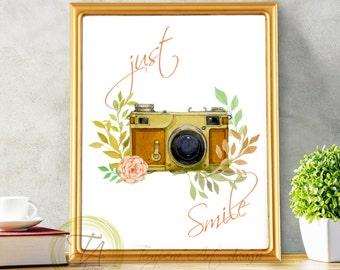 Camera Print 8x10 Just Smile Camera Instant Download Quote Print Antique Camera Art Print Watercolor Camera Rosebushes Printable Photography