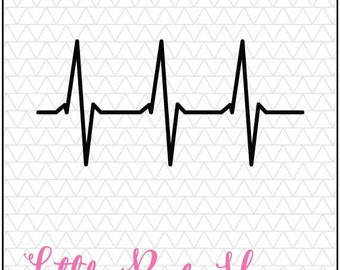 Heartbeat SVG, Heartbeat Pulse, Medical, Nurse, Doctor, Pharmacy, Silhouette Studio, SVG, DXF, Instant download, silhouette studio