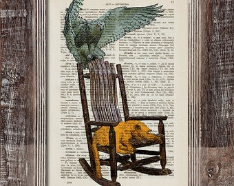 Yellow Cat Dreaming, Owl Flying, Cat Rocking Chair, Old Rocking Chair, Cat And Owl, Owl Chair, Dictionary Page Print, Vintage Book Print