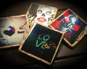 Graffiti Street Art Stone Tile Coasters - Set of 4