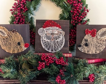 MADE TO ORDER String Art Santa, Rudolph & Clarice Collection