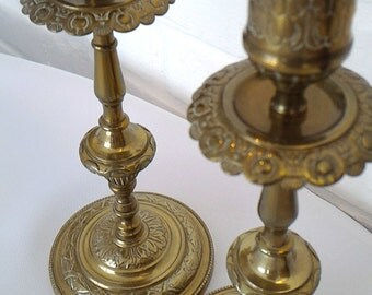 French antique brass candle holders /  French candlesticks
