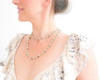 Vintage Pearl Necklace, Delicate Pearl Silver Necklace, Romantic Pearl Necklace, Long Pearl Necklace, Wedding Pearls, Bridal Necklace