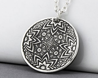 Sterling Silver Pendant-Sterling Silver Geometric Necklace-Zentangle Jewelry-Zendoodle Minimalist Silver Jewelry - Handmade Bohemian