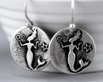 Mermaid Earrings-Sterling Silver Mermaid Jewelry-Unique Handmade Silver Jewelry-Mythical Mermaid Diva Earrings- Nautical - Gift for Her