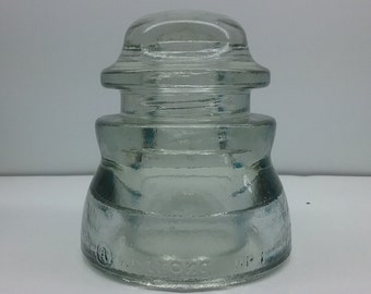 CD 155  Armstrong DP 1 Made In U.S.A. Near Clear Tint Glass Insulator Marked the End of an Era of Glass Insulators