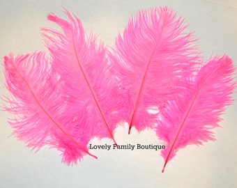 """10 Pink Ostrich Feathers Craft Feathers Loose Pink Ostrich Feathers 6""""- 8"""""""