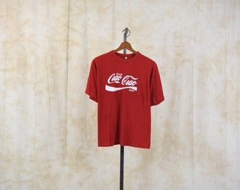 80s Coca Cola Tshirt Americana Italy Soda Rome Pop 1980s T Shirt Burnout Graphic T-Shirt Hipster Retro Tee Vintage Print Red Large