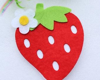 10pcs Large Red Strawberry Applique Patches Handmade Felt Fabric Patchwork DIY Craft Supplies,Scrapbooking,Nursery Decor