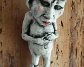 "OOAK: Handmade Kiln Fired Stoneware Ceramic Sculpture Figure  ""Worrywart"" with octopus"