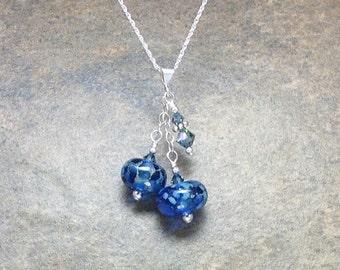 Blue Handmade Lampwork Necklace~Streaky Sapphire Glass Bead Pendant~Sterling Silver~OOAK~SRA