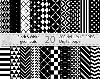 SALE 50% Black and White Geometric Digital Paper Set, Geometric Digital papers, Black and White Scrapbooking papers, Instant Download