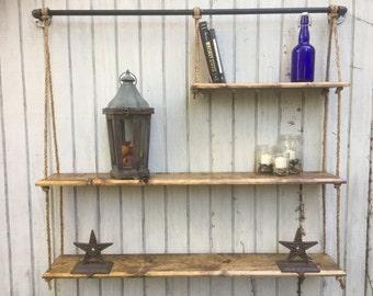 Rustic handmade wood shelves, rustic floating shelves, rustic home decor, industrial decor.