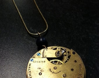 Antique 1883 pocket watch movement necklace with lapis - Waltham goldtone steampunk