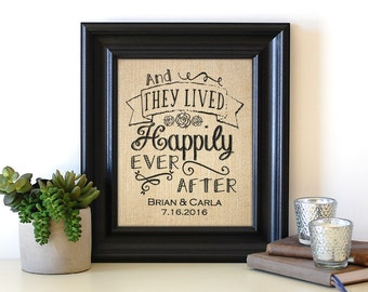 They Lived Happily Ever After Sign | Unique Wedding Gift | Wedding Shower Gift | Rustic Wedding Burlap Sign | Engagement Gift for the Couple