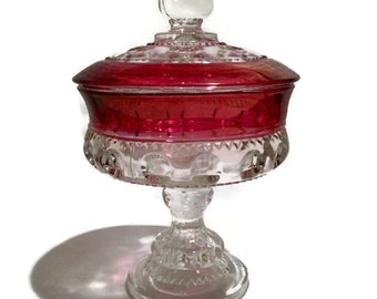 Vintage Tiffin Ruby Flashed Kings Crown Thumbprint Lidded Compote/Candy Dish