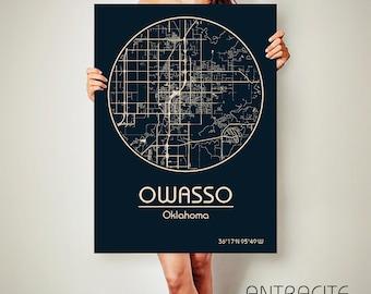 OWASSO Oklahoma CANVAS Map Owasso Oklahoma Poster City Map Owasso Oklahoma Art Print Owasso Oklahoma poster Owasso Oklahoma map