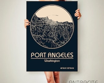 PORT ANGELES Washington CANVAS Map Port Angeles Washington Poster City Map Port Angeles Washington Art Print Port Angeles