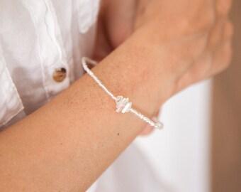 Raw Moonstone Bracelet, Moonstone Bracelet, Bracelet Boho Style, Seed Bead Bracelet, Silver Moonstone Bracelet, Moonstone Bracelet for Her