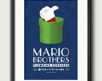 Mario Brothers Plumbing Services Poster Print