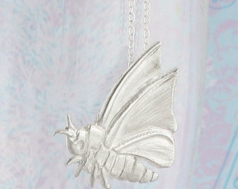 Flying Moth Pendant Necklace