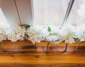 Silk Bridesmaids Bouquets (Set of 5), Hand Made Silk Bouquets, White Peony Bouquets