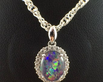 Opal Necklace Pendant Vintage Genuine Australian Large Triplet 10x8mm, Cubic Zircons, White Gold Plated Sterling Silver, Chain, Certificate