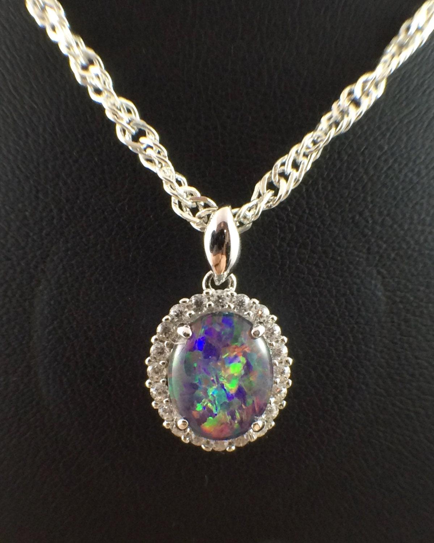 opal necklace pendant vintage genuine australian large triplet