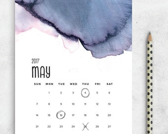 SALE Printable 2017 Calendar, Watercolor Calendar Planner 2017 PDF, A4 UsLetter A5 Calendar Printable Wall Calendar, Modern Instant Download