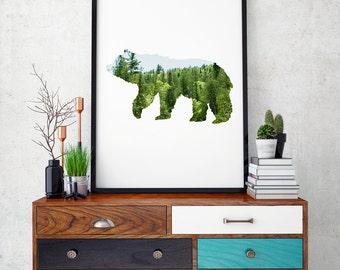 Forest Animals, Bears, Forest Nursery, Bear Printable, Forest Decor, Wall Art, Minimal Art, Animal Printable, Gift Idea - DIGITAL PRINT-