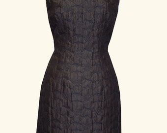 simple sheath dress with woven flowers