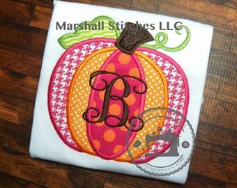 Girl's Pumpkin Applique Shirt/ Girl's Fall Applique Shirt/ Girl's Pumpkin Shirt