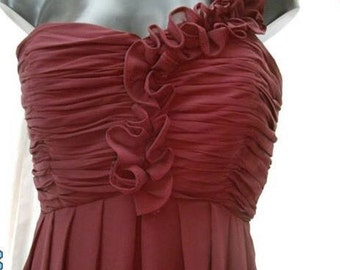 Long bridesmaid style dress with one shoulder ruffle, dark red