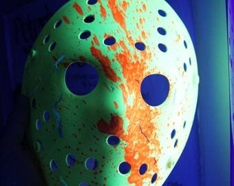 Rave Neon Jason Voorhees Friday the 13th Hockey Mask UV Dayglow Blacklight