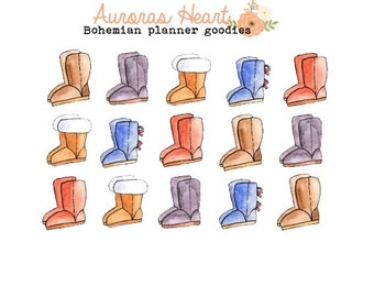 Cozy winter boots planner stickers boho