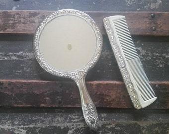 Silver mirror and comb vintage, bridal mirror and comb, dresser mirror and comb