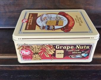 Grape nuts tin vintage, cereal tin, Post Grape Nuts