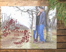 Rustic Wreath Holiday Photo Card [Printable Digital Design]
