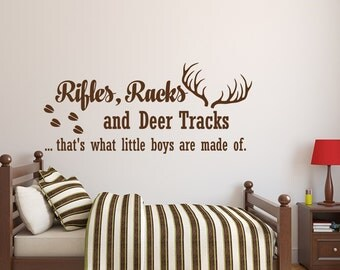 Superior Rifles Racks And Deer Tracks Wall Decal Quote  Baby Boy Nursery Wall Decal  Kids Room Part 17