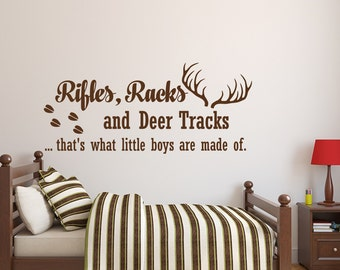 Rifles Racks And Deer Tracks Wall Decal Quote  Baby Boy Nursery Wall Decal  Kids Room