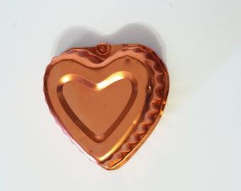 Vintage Copper Small Jello Mold in Heart Design - Valentine Mold