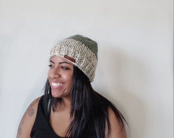 Knit Slouchy Beanie Hat//Oatmeal and Willow